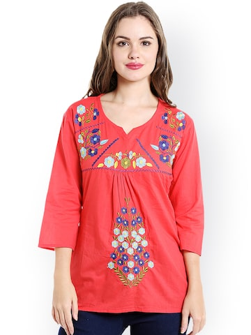 Ishin Red Embroidered Straight Kurti Ishin Kurtis at myntra