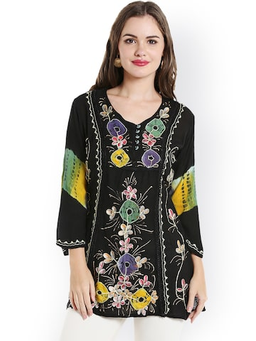 Ishin Black Cotton Embroidered Straight Kurti Ishin Kurtis at myntra