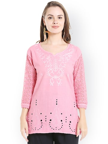 Ishin Pink Cotton Embroidered Straight Kurti Ishin Kurtis at myntra