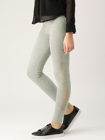 Dressberry Women Grey Melange Ripped Ankle-Length Leggings DressBerry Leggings at myntra