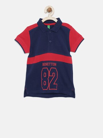 United Colors of Benetton Boys Navy Printed Polo Collar T-shirt United Colors of Benetton Tshirts at myntra