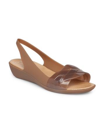 Crocs Women Brown Solid Synthetic Open Toed Flats Crocs Flats at myntra