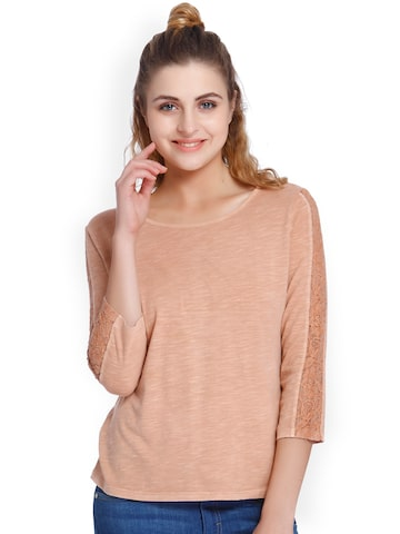 ONLY Women Peach-Coloured Solid Round Neck T-shirt ONLY Tshirts at myntra