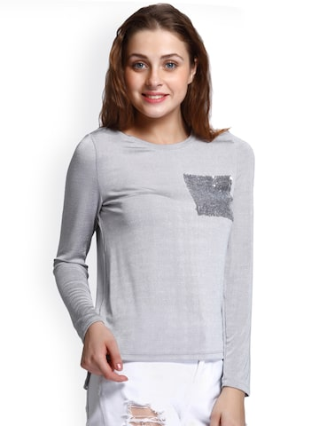 ONLY Women Grey Slim Fit Solid Round Neck T-shirt ONLY Tshirts at myntra