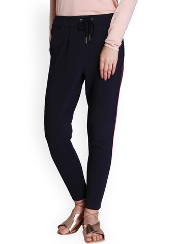 ONLY Women Black Regular Trousers ONLY Trousers at myntra