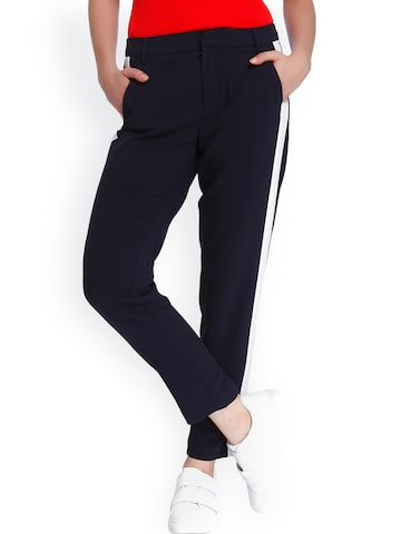 ONLY Women Navy Regular Fit Solid Regular Trousers ONLY Trousers at myntra