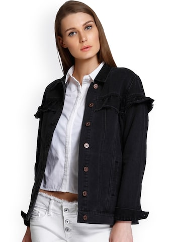 ONLY Women Black Solid Denim Jacket ONLY Jackets at myntra