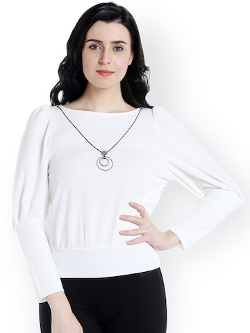 109F Women White Solid Top 109F Tops at myntra