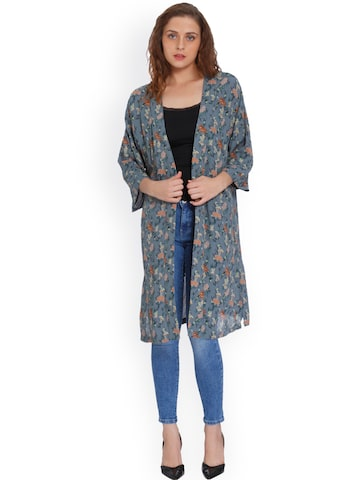 ONLY Blue Printed Open Front Shrug ONLY Shrug at myntra