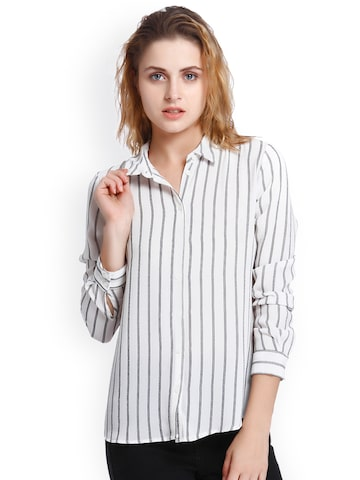 Only Women White & Black Regular Fit Striped Casual Shirt ONLY Shirts at myntra