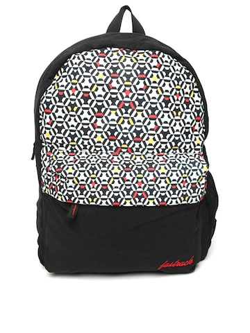 Fastrack Women Black & Off-White Geometric Print Backpack Fastrack Backpacks at myntra