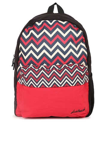 Fastrack Women Red & Blue Graphic Backpack Fastrack Backpacks at myntra