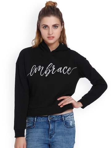 ONLY Women Black Printed Hooded Sweatshirt ONLY Sweatshirts at myntra