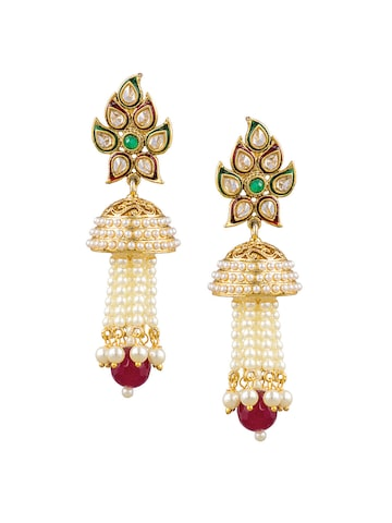 Sia Art Jewellery Gold-Toned & Maroon Dome Shaped Drop Earrings Sia Art Jewellery Earrings at myntra