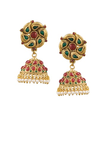 Sia Art Jewellery Gold-Toned & Maroon Dome Shaped Jhumkas Sia Art Jewellery Earrings at myntra