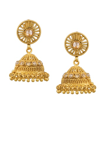 Sia Art Jewellery Gold-Toned Dome Shaped Jhumkas Sia Art Jewellery Earrings at myntra