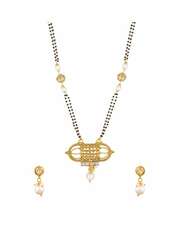 Sia Ethnic Wear Gold-Toned & Black Beaded Dual-Stranded Mangalsutra & Earrings Set Sia Art Jewellery Mangalsutra at myntra