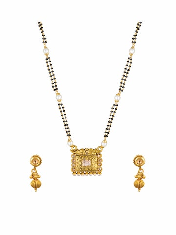 Sia Ethnic Wear Gold-Toned & Black Beaded Dual-Stranded Mangalsutra & Earrings Set Sia Art Jewellery Jewellery Set at myntra