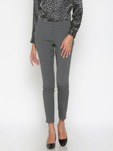Wills Lifestyle Women Charcoal Grey Slim Fit Self Design Formal Trousers Wills Lifestyle Trousers at myntra