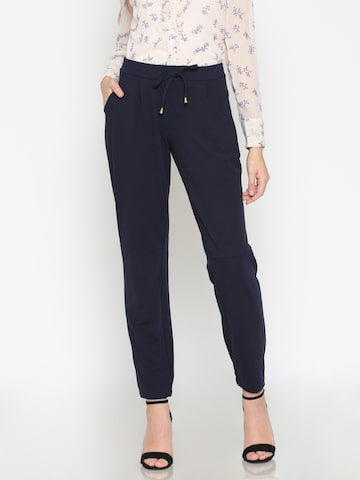 Wills Lifestyle Women Navy Blue Regular Fit Solid Joggers Wills Lifestyle Trousers at myntra