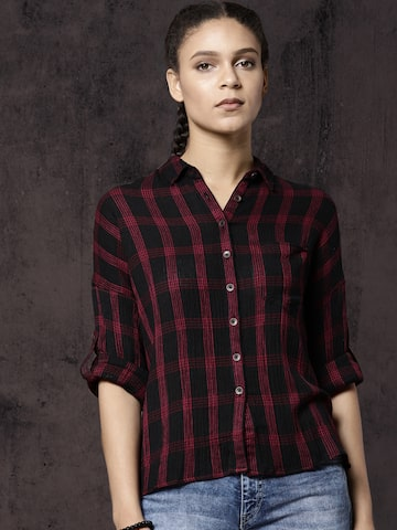 Roadster Women Black & Maroon Regular Fit Checked Casual Shirt Roadster Shirts at myntra