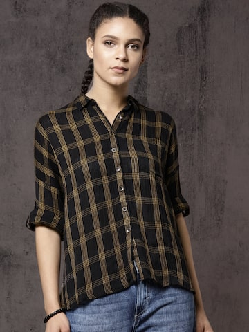 Roadster Women Black & Mustard Yellow Regular Fit Checked Casual Shirt Roadster Shirts at myntra