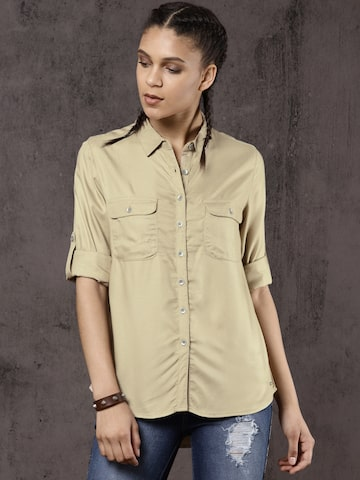 Roadster Women Beige Regular Fit Solid Casual Shirt Roadster Shirts at myntra