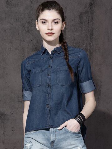 Roadster Women Blue Regular Fit Solid Casual Shirt Roadster Shirts at myntra