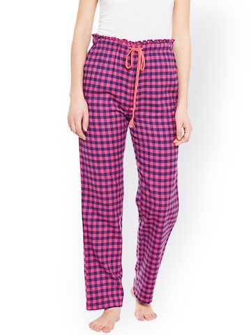 Oxolloxo Pink & Blue Checked Pyjamas W17210WNW001 Oxolloxo Pyjamas at myntra