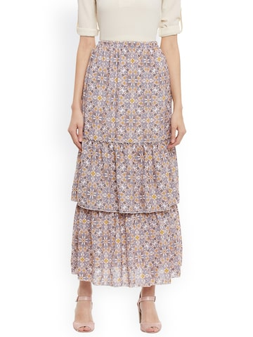 Meee White & Blue Tiered Long Maxi Skirt Meee Skirts at myntra