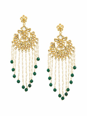 Sia Art Jewellery Gold-Toned & White Contemporary Drop Earrings Sia Art Jewellery Earrings at myntra