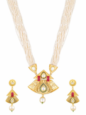Sia Art Jewellery Gold-Toned & White Bridal Wear Jewellery Set Sia Art Jewellery Jewellery Set at myntra