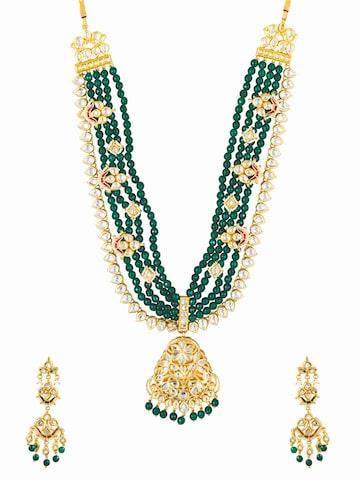Sia Art Jewellery Gold-Toned & Green Bridal Wear Jewellery Set Sia Art Jewellery Jewellery Set at myntra