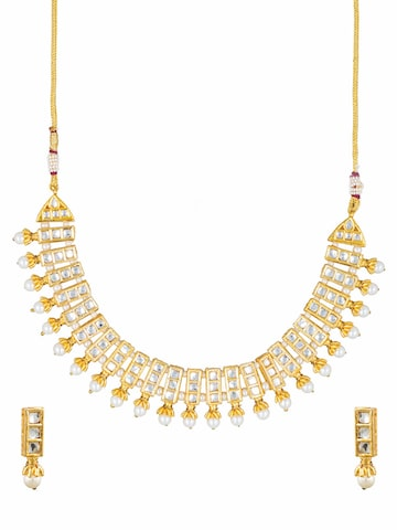 Sia Art Jewellery Gold-Toned & White Bridal Wear Embellished Jewellery Set Sia Art Jewellery Jewellery Set at myntra