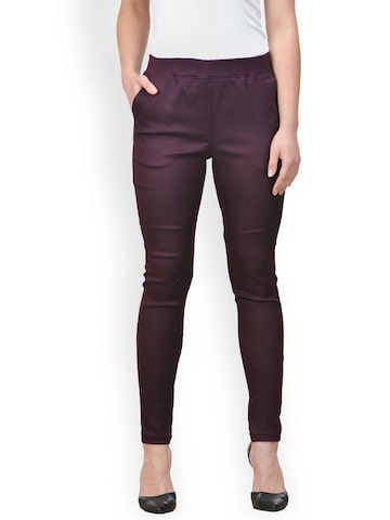 Castle Women Burgundy Solid Jeggings Castle Jeggings at myntra