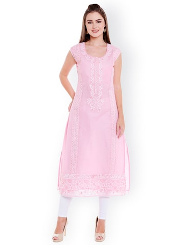 Ishin Women Pink Embroidered Straight Kurta Ishin Kurtas at myntra