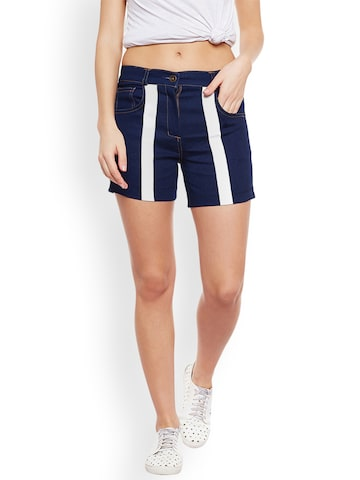 Rider Republic Women Blue Printed Slim Fit Denim Shorts Rider Republic Shorts at myntra