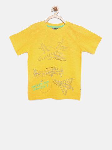 Nauti Nati Boys Yellow Printed Round Neck T-shirt Nauti Nati Tshirts at myntra