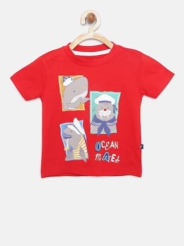 Nauti Nati Boys Red Printed Round Neck T-shirt Nauti Nati Tshirts at myntra