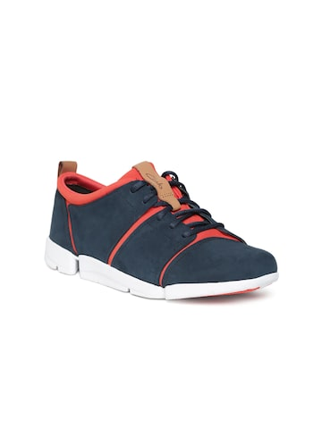 Clarks Women Navy Blue Leather Sneakers Clarks Casual Shoes at myntra