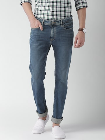 Tommy Hilfiger Men Blue Fitted Slim Fit Mid-Rise Clean Look Stretchable Jeans Tommy Hilfiger Jeans at myntra
