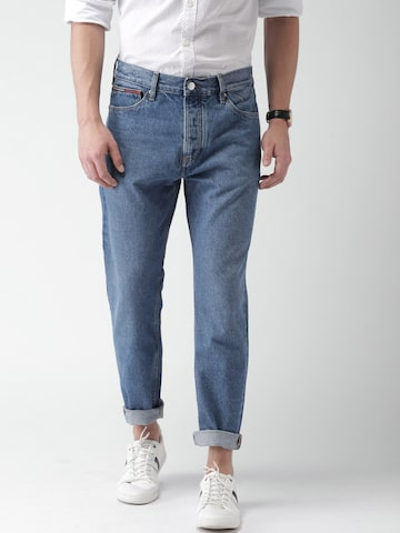 Tommy Hilfiger Men Blue Relaxed Fit Mid-Rise Clean Look Cropped Jeans Tommy Hilfiger Jeans at myntra
