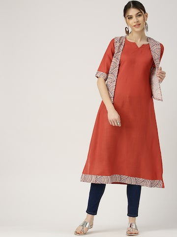 Libas Women Red Solid A-Line Kurta with Ethnic Jacket Libas Kurtas at myntra