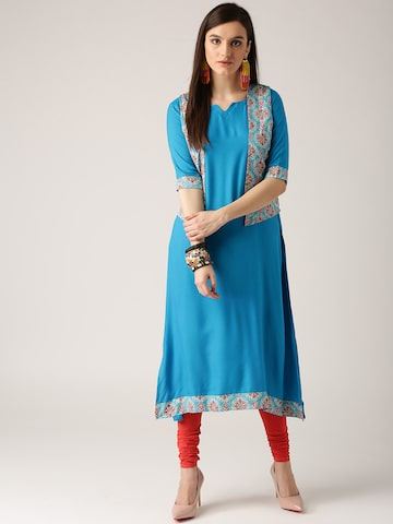 Libas Women Blue Solid A-Line Kurta with Printed Ethnic Jacket Libas Kurtas at myntra