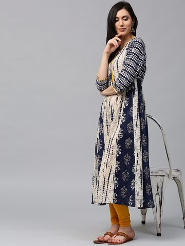 Jaipur Kurti Women Off-White & Navy Printed Anarkali Kurta Jaipur Kurti Kurtas at myntra