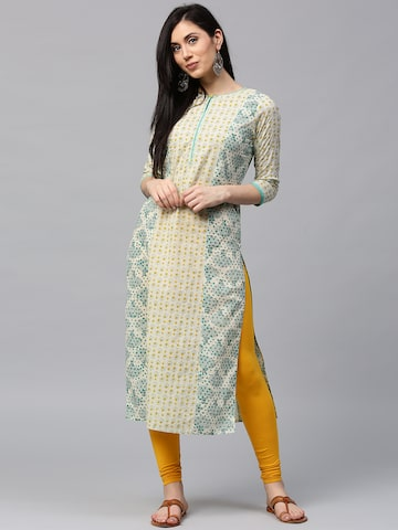 Jaipur Kurti Women Off-White & Green Printed Straight Kurta Jaipur Kurti Kurtas at myntra