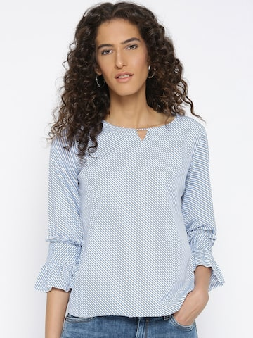 Style Quotient Women Blue & White Striped Top with Bell Sleeves Style Quotient Tops at myntra