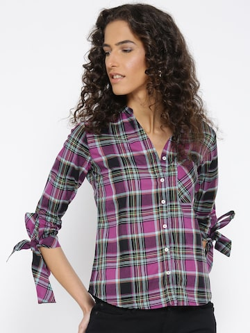 Style Quotient Women Purple & Black Checked Casual Shirt Style Quotient Shirts at myntra