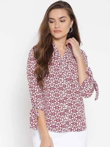 Style Quotient Women Burgundy & White Regular Fit Printed Casual Shirt Style Quotient Shirts at myntra