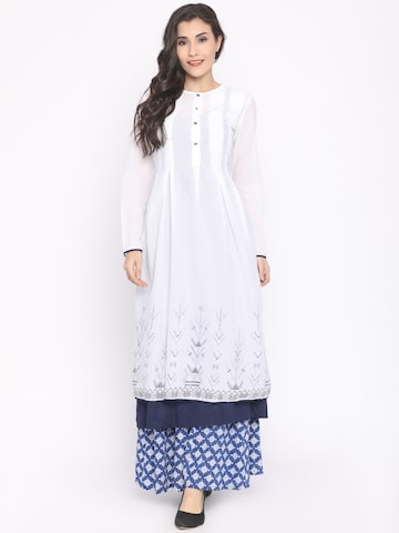 Global Desi Women White Solid A-Line Kurta Global Desi Kurtas at myntra